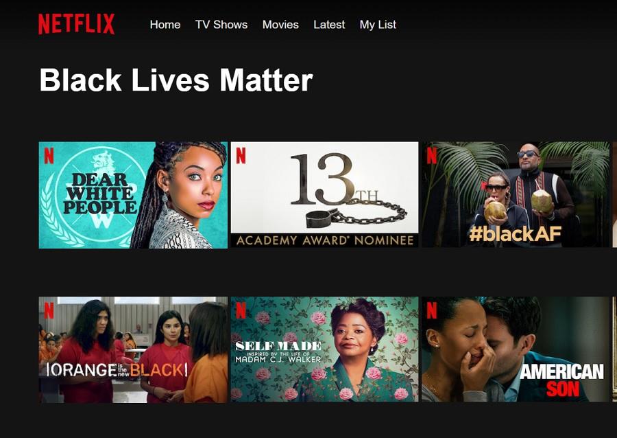 netflix black lives matter category