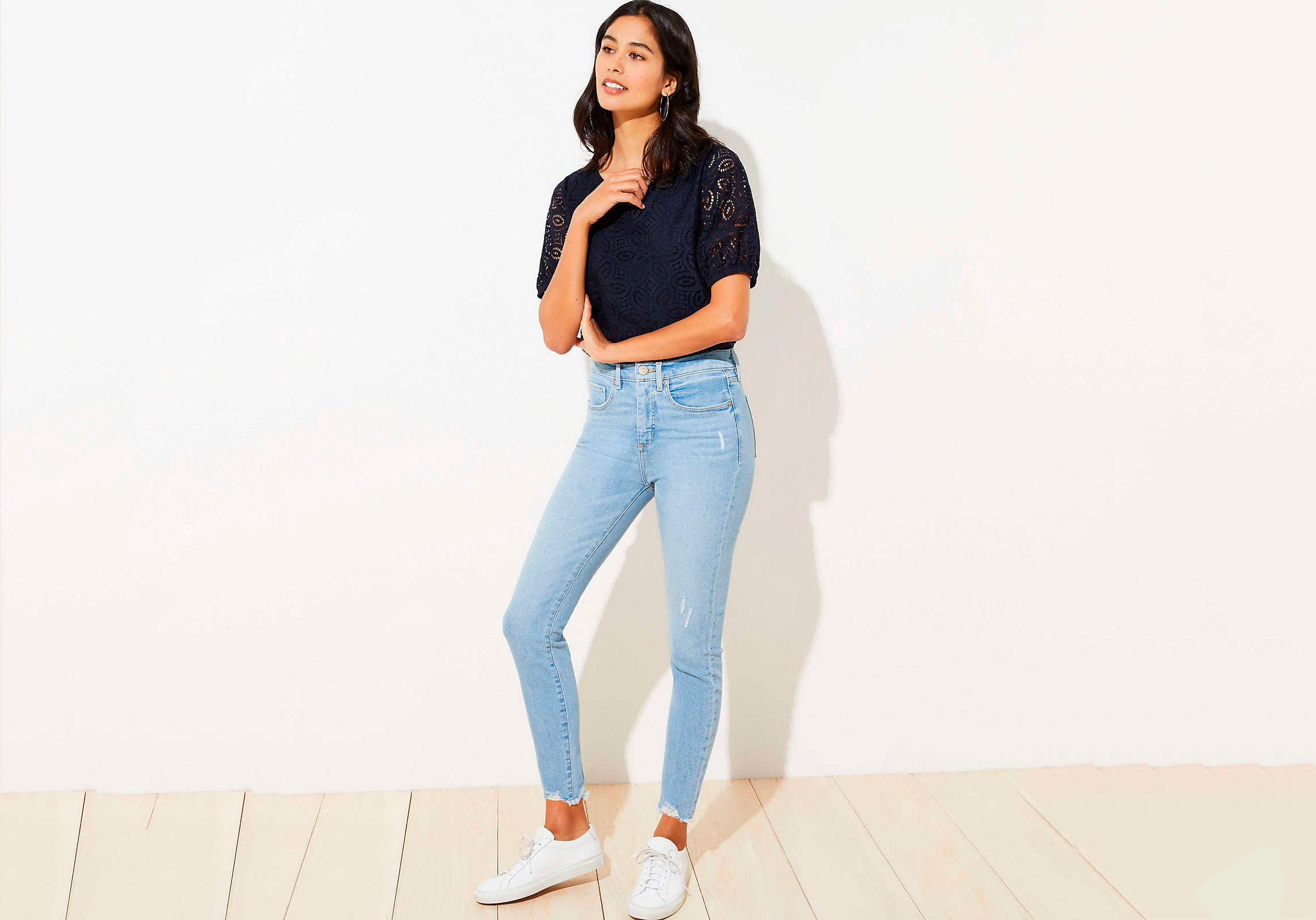 loft high waisted jeans with stretch, best high waisted jeans