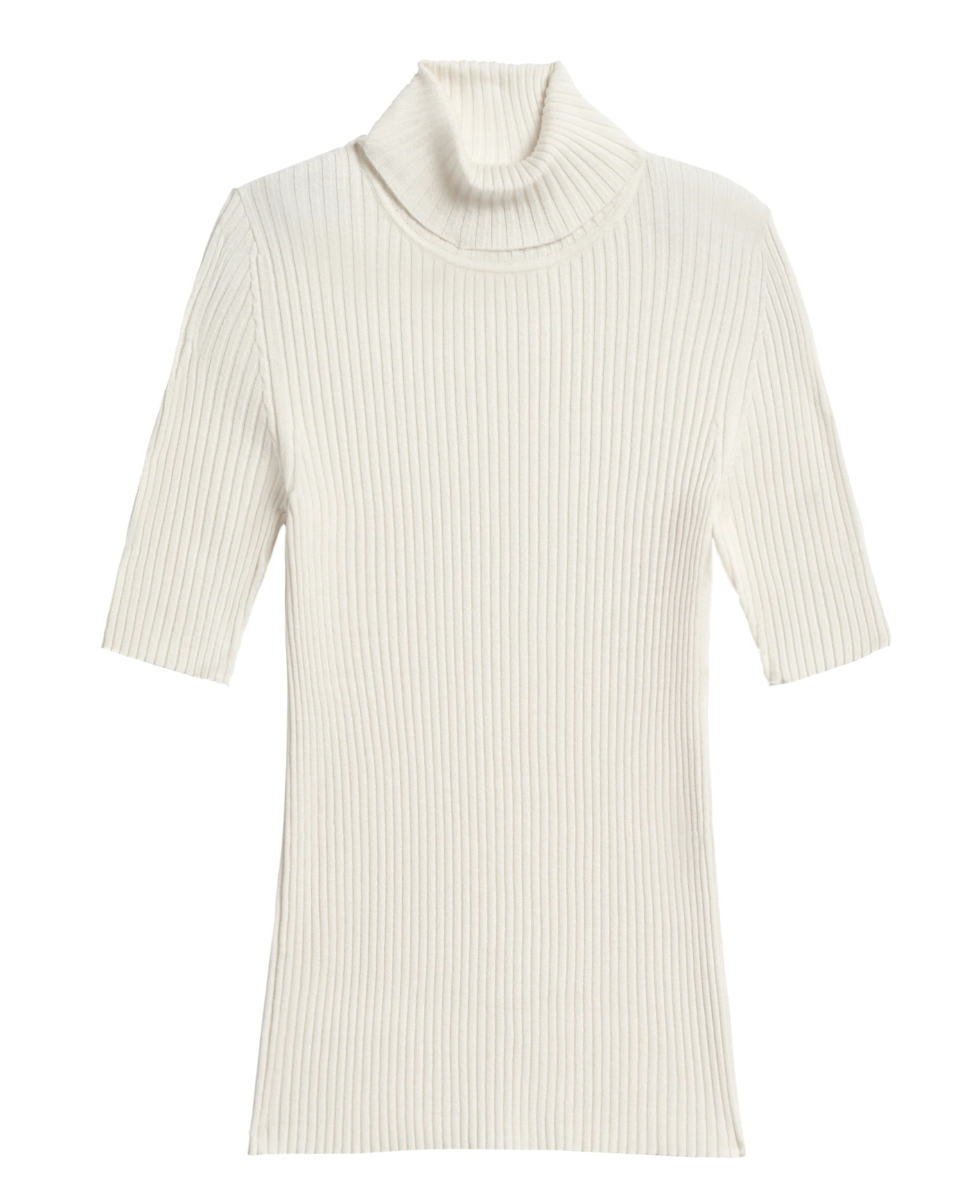 fitted Ribbed short sleeve turtleneck