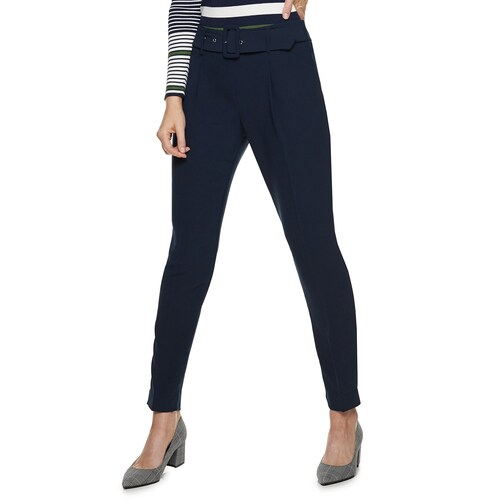 Navy belted pants