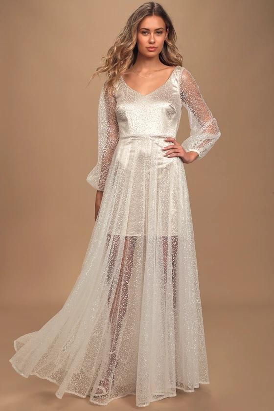 lulus wedding dress with sparkle tulle skirt