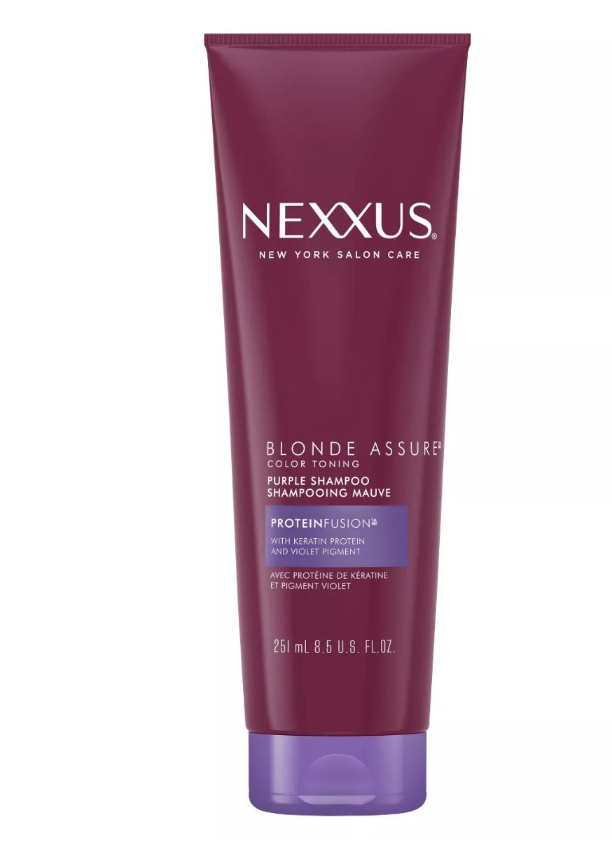 nexxus assure purple shampool best drugstore shampoo for blonde hair