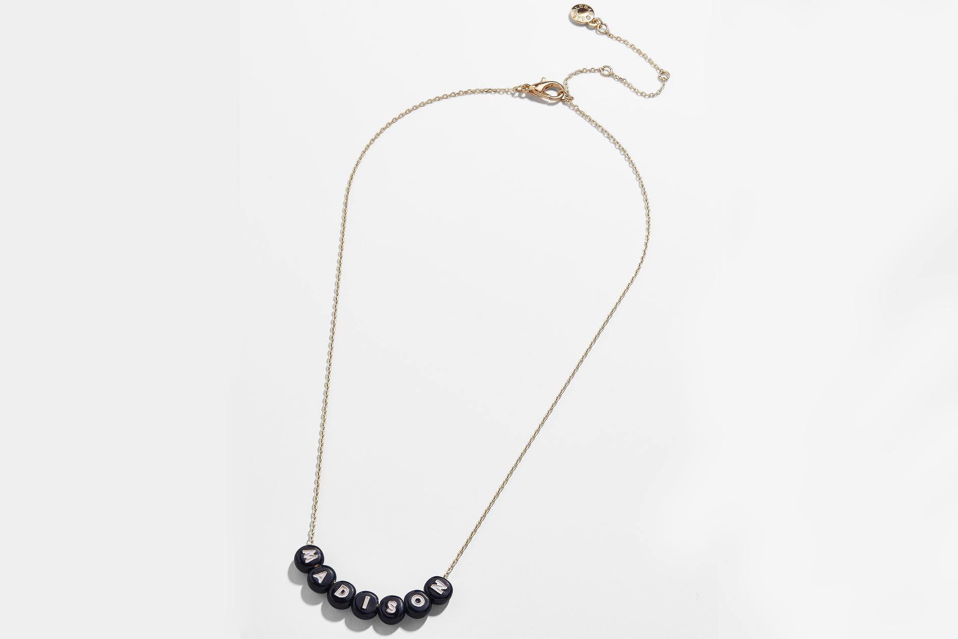 elementary school jewelry Baublebar custom black Pisa necklace