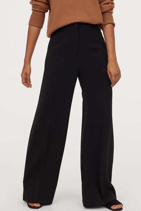 H&M black wide leg trousers