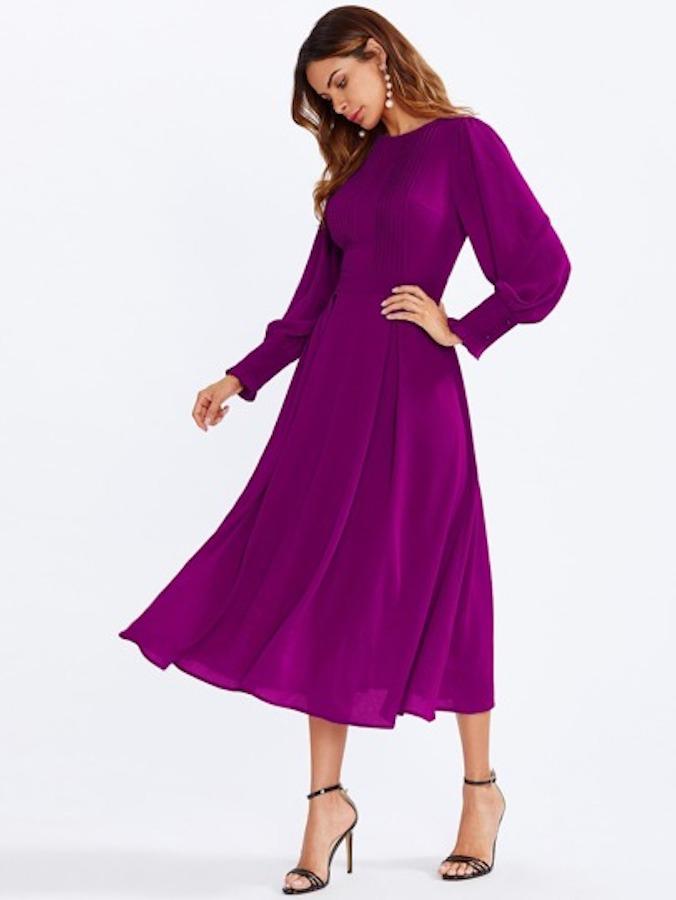 Shein Long Sleeve Purple Dress
