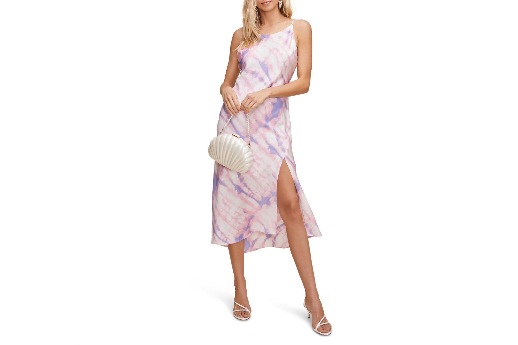 tie-dye fashion satin midi dress