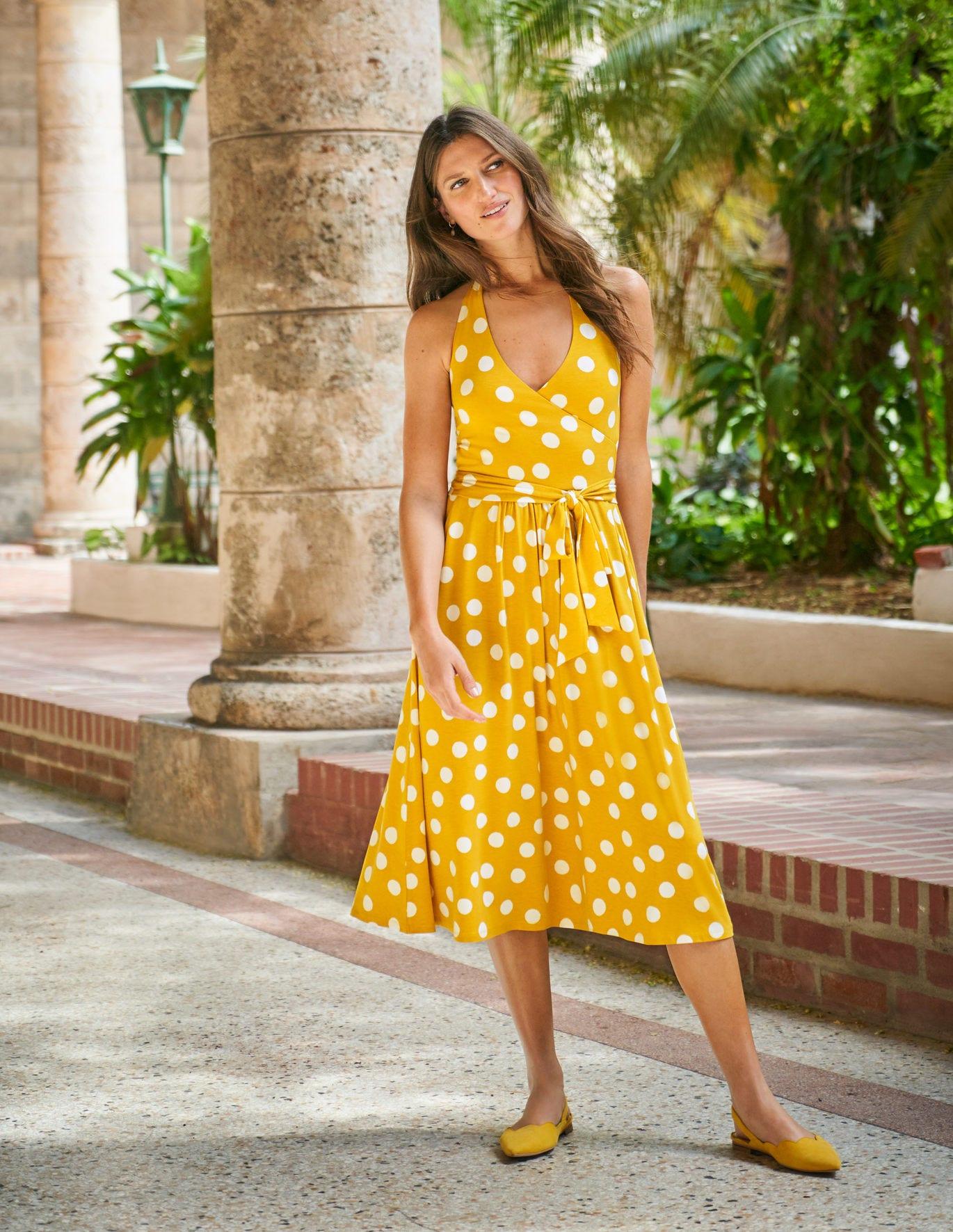 yellow sundress boden tess halterneck jersey dress
