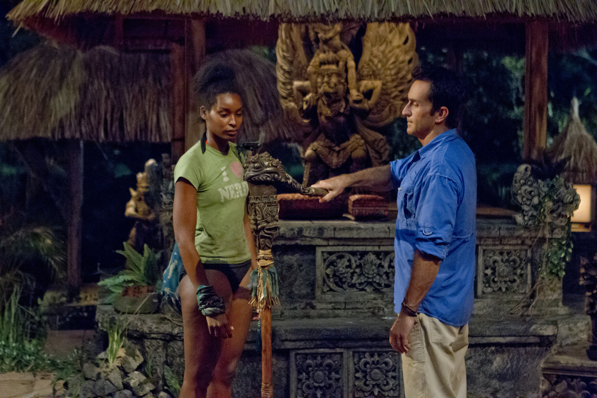 survivor contestant j'tia with jeff probst