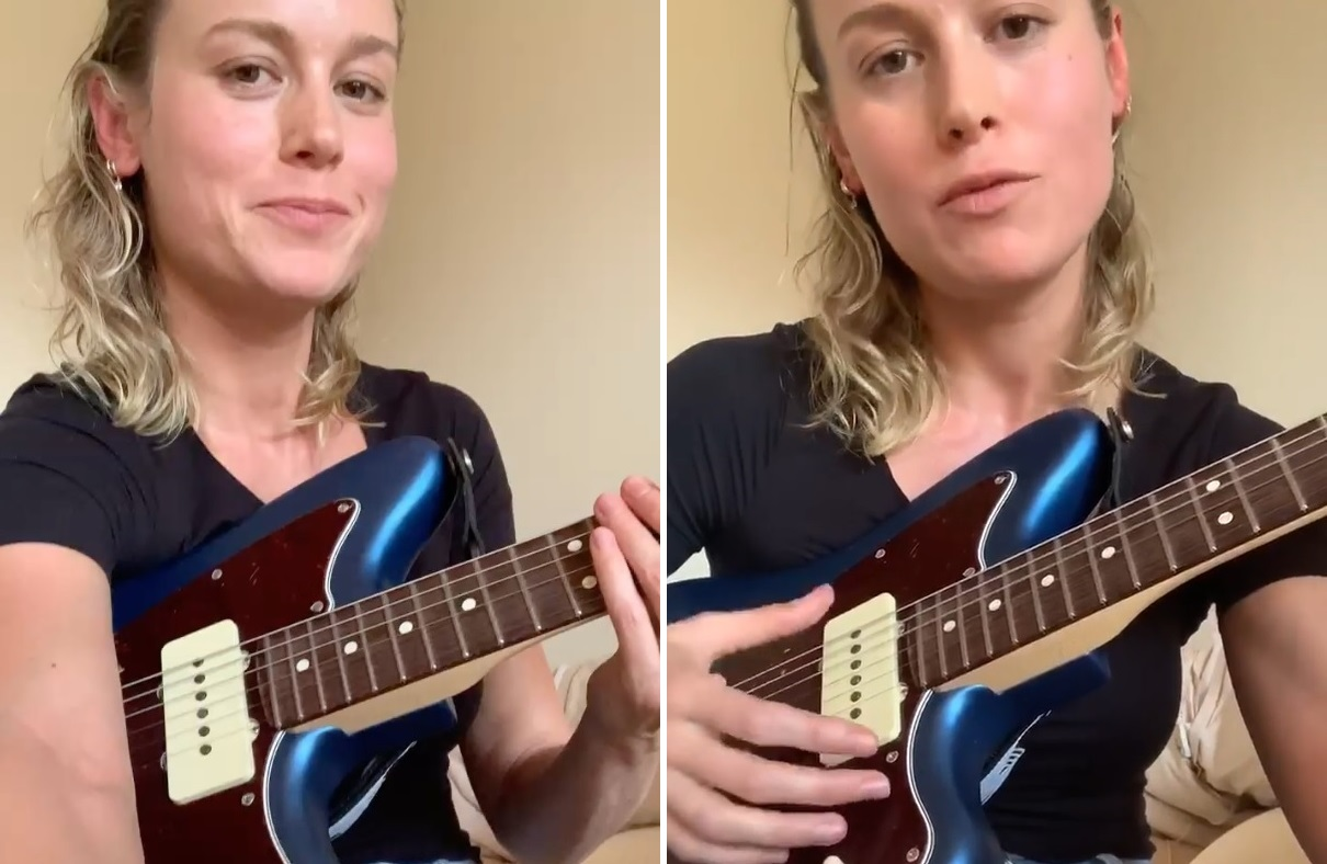 """brie larson sings taylor swift song """"the 1"""""""