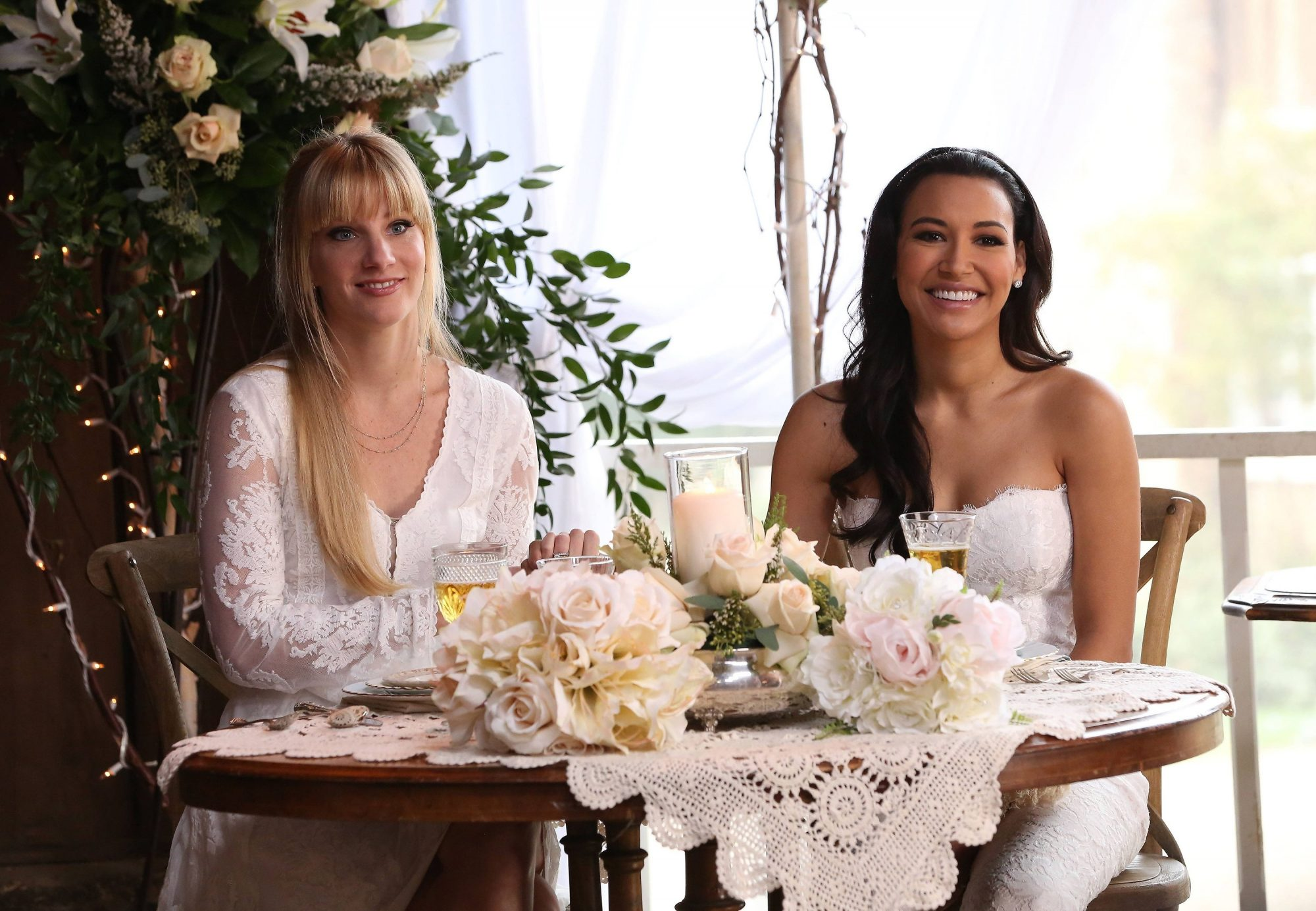 heather morris brittany and santana wedding on glee