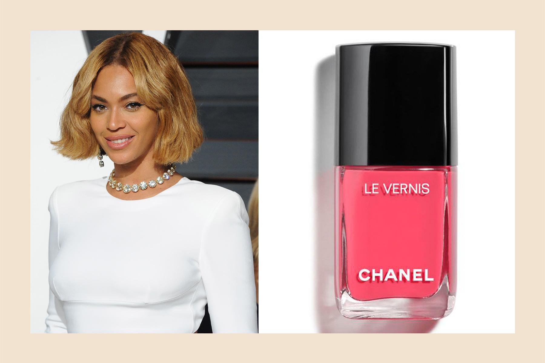 Beyoncé pink nail polish medium-dark skin tone