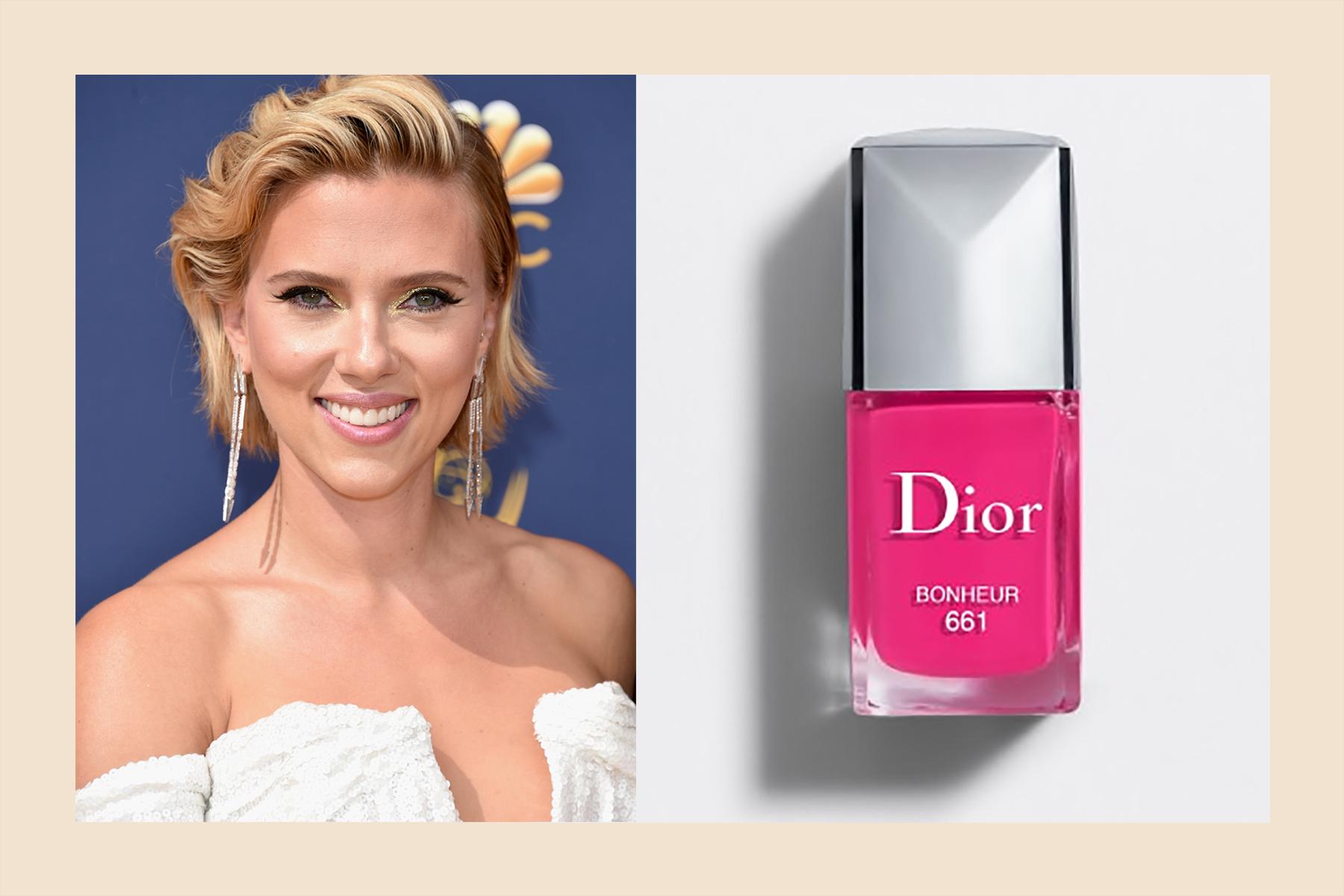 Scarlett Johansson pink nail polish fair skin tone