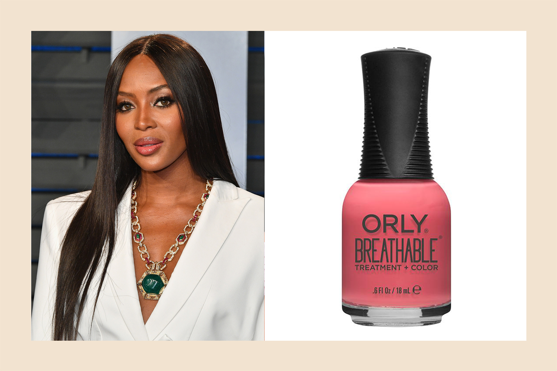 Naomi Campbell pink nail polish skin tone