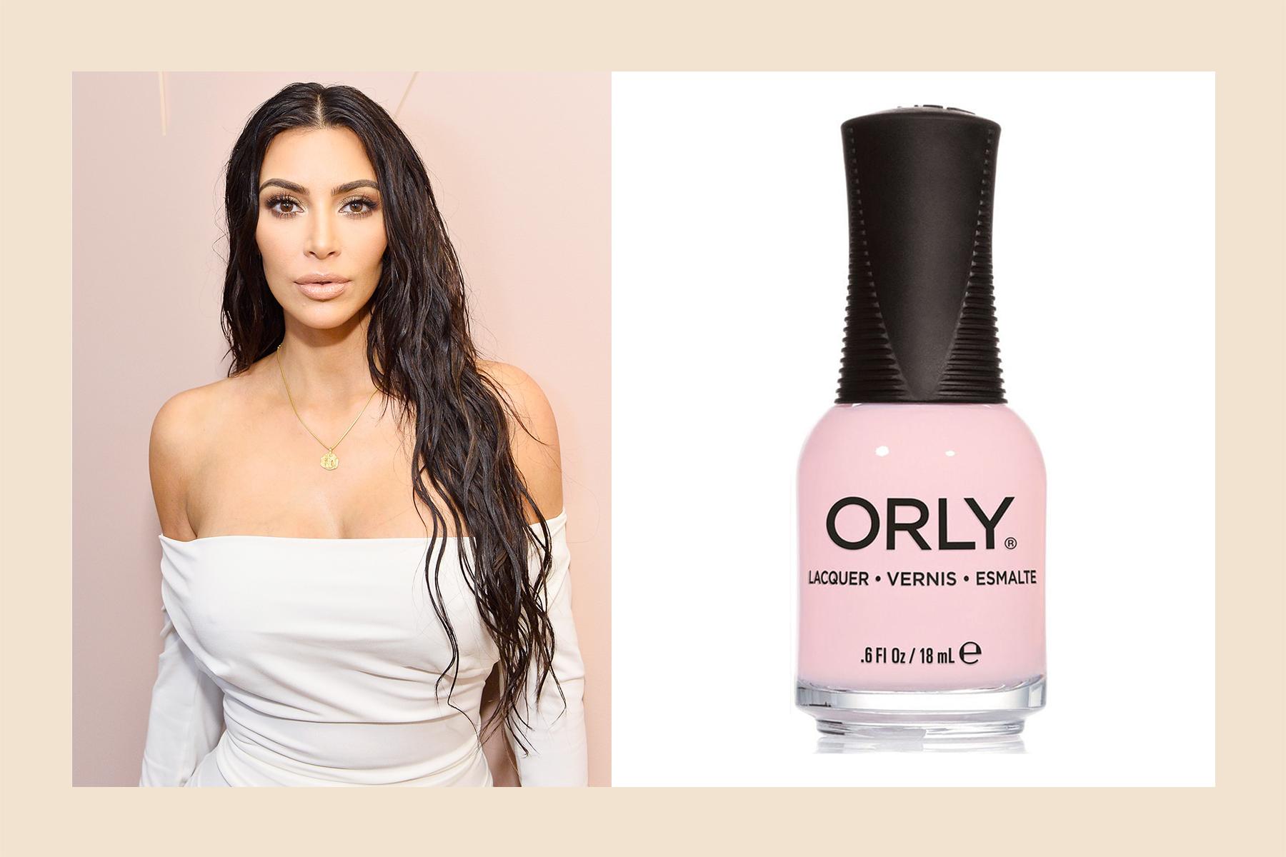 Kim Kardashian pink nail polish