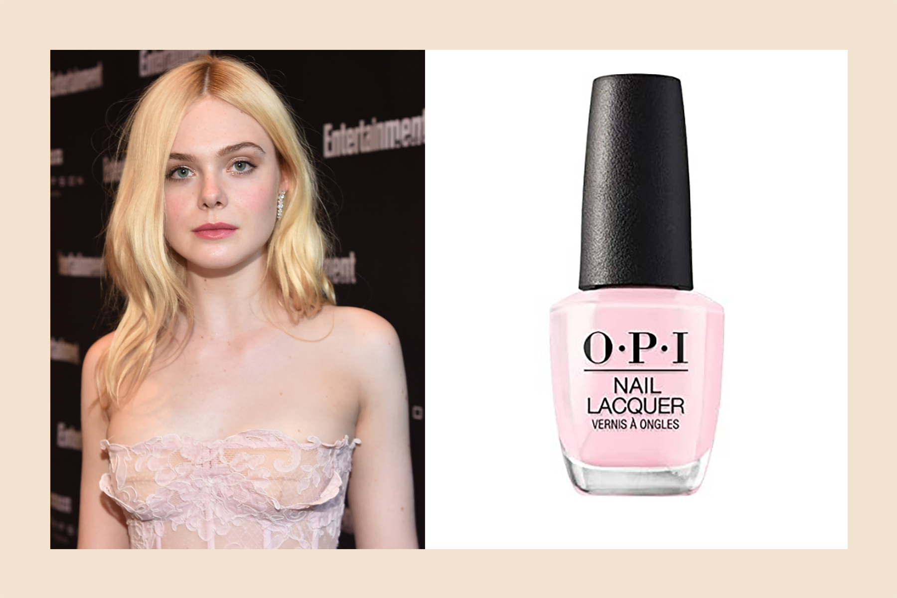 Elle Fanning skin tone pink nail polish