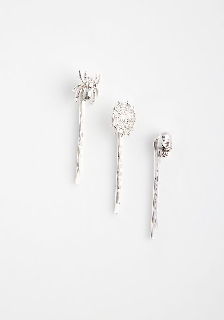 modcloth halloween shop hair bobby pins in spider and skull shapes