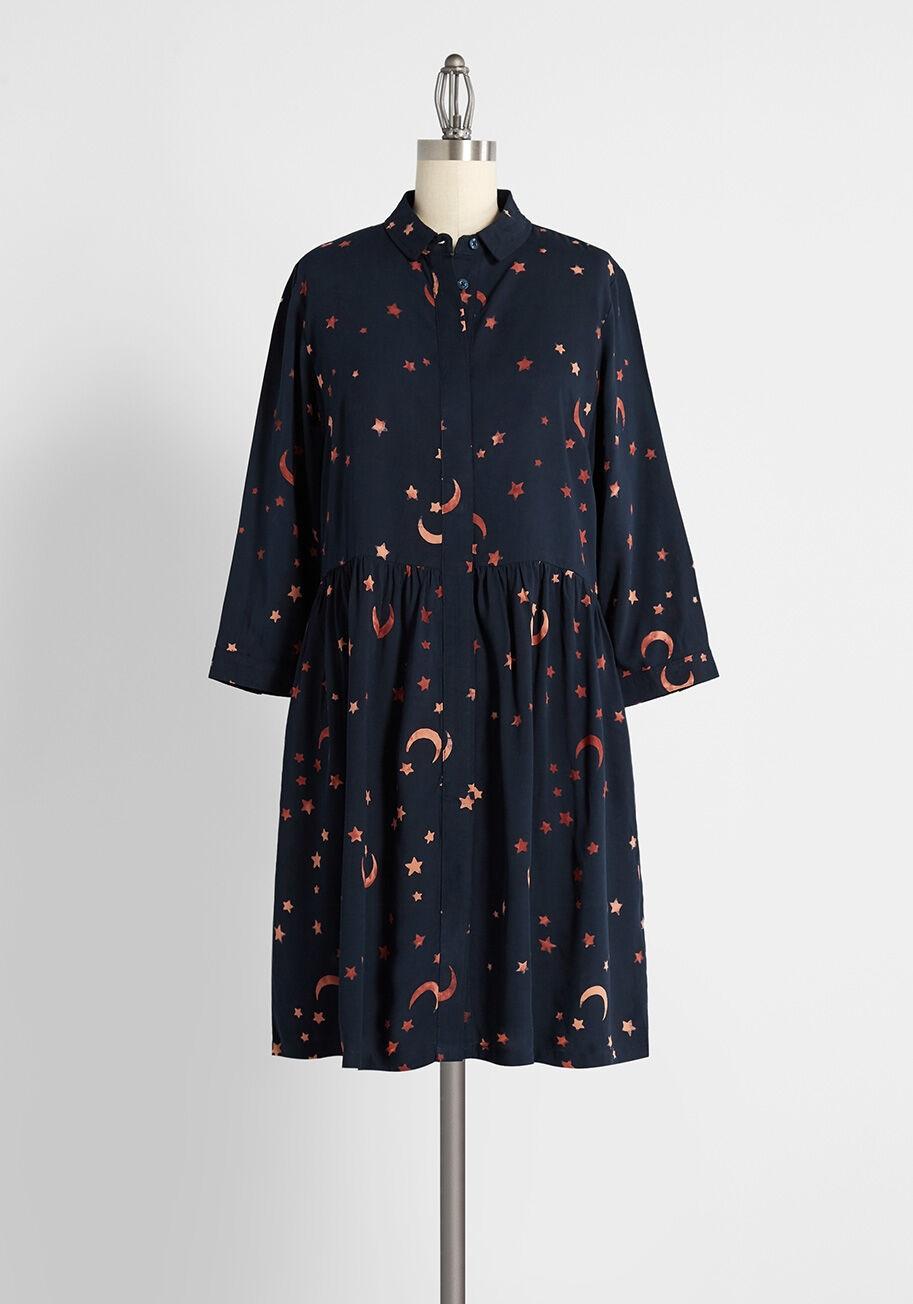 modcloth halloween shop dress wtih star and moon print