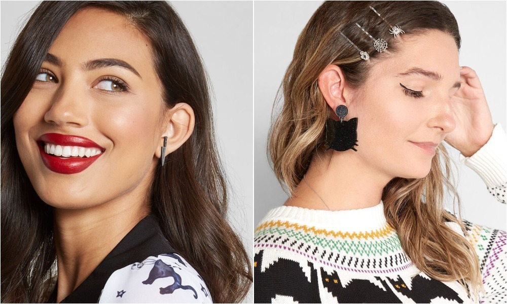 modcloth halloween shop, earrings and sweater
