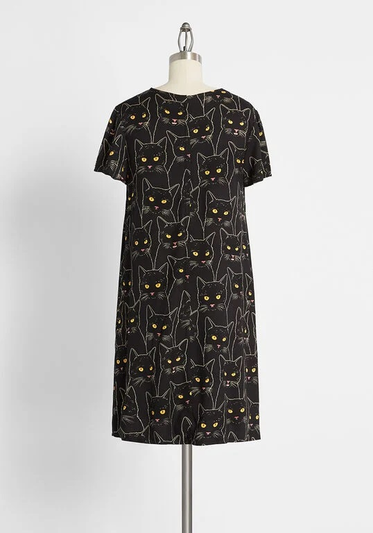 modcloth halloween shop cat dress shift dress