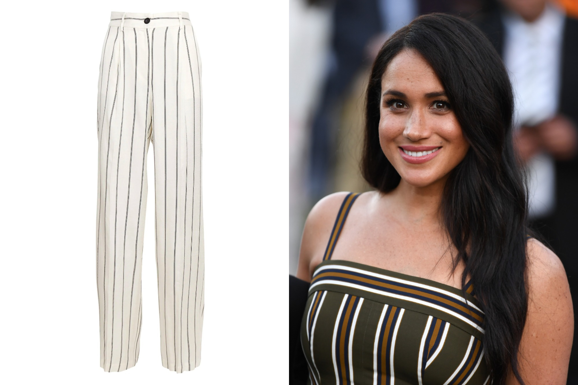 meghan markle striped trousers