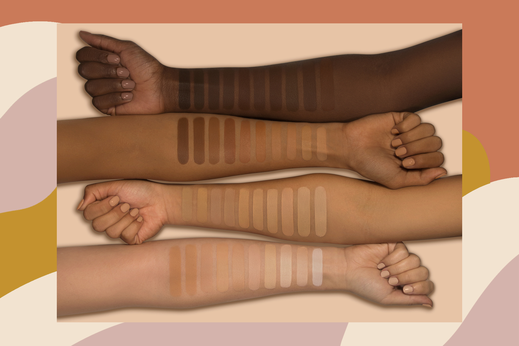 how to find your foundation shade, foundation swatched on different skin