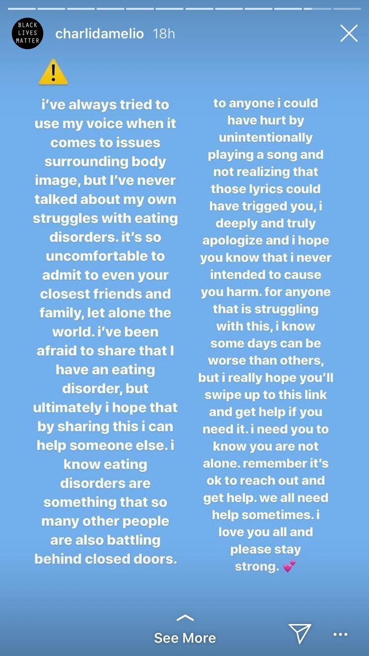 charli d'amelio instagram story eating disorder