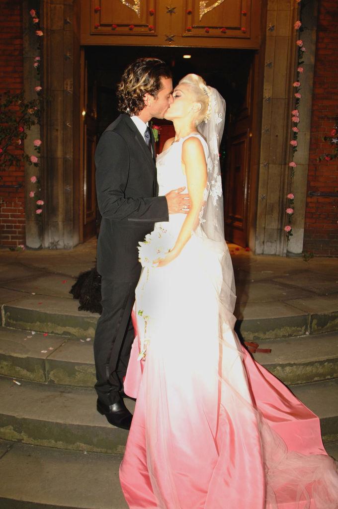 gwen stefani wedding dress, celebrity colorful wedding dresses