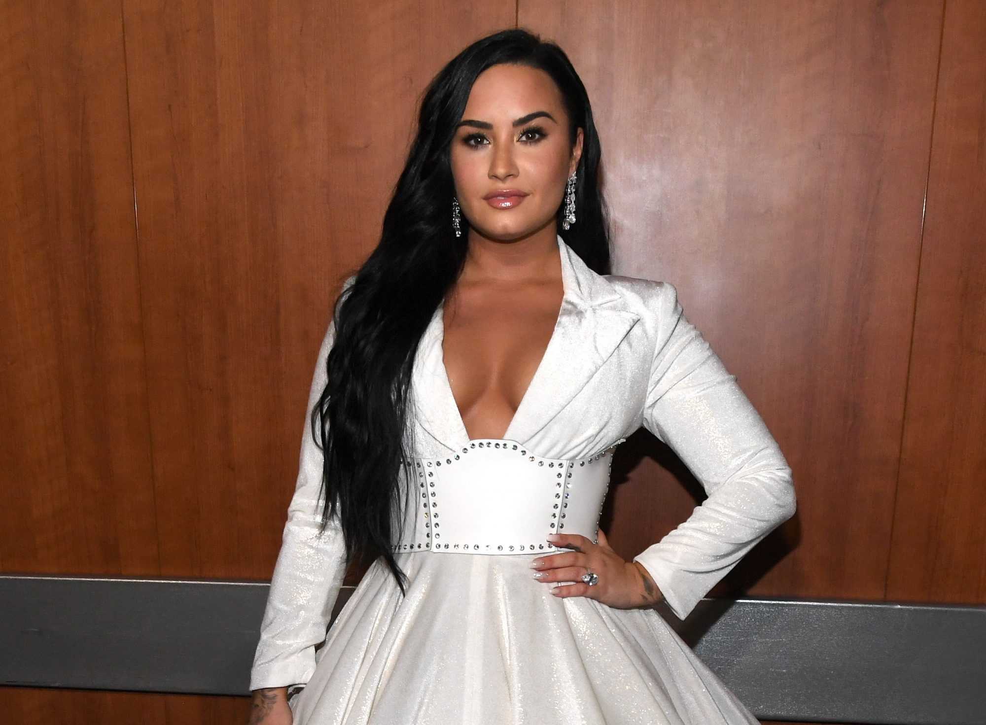 demi lovato, celebrity colorful wedding dresses