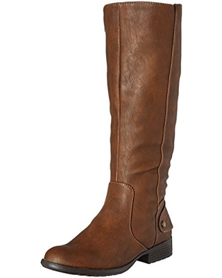 lifestride wide calf riding boot brown