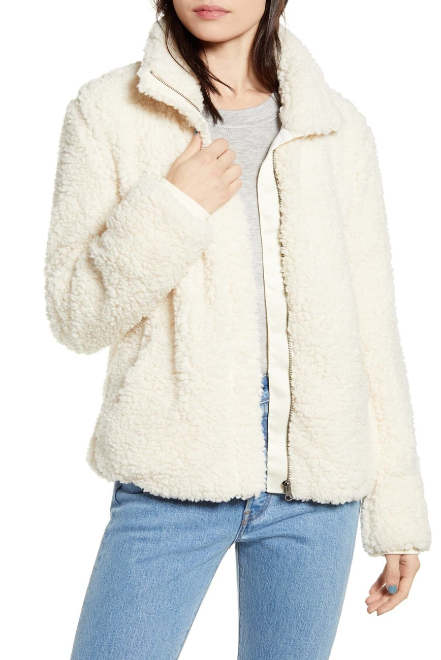 nordstrom rack sale thread and supply fuzzy zip jacket