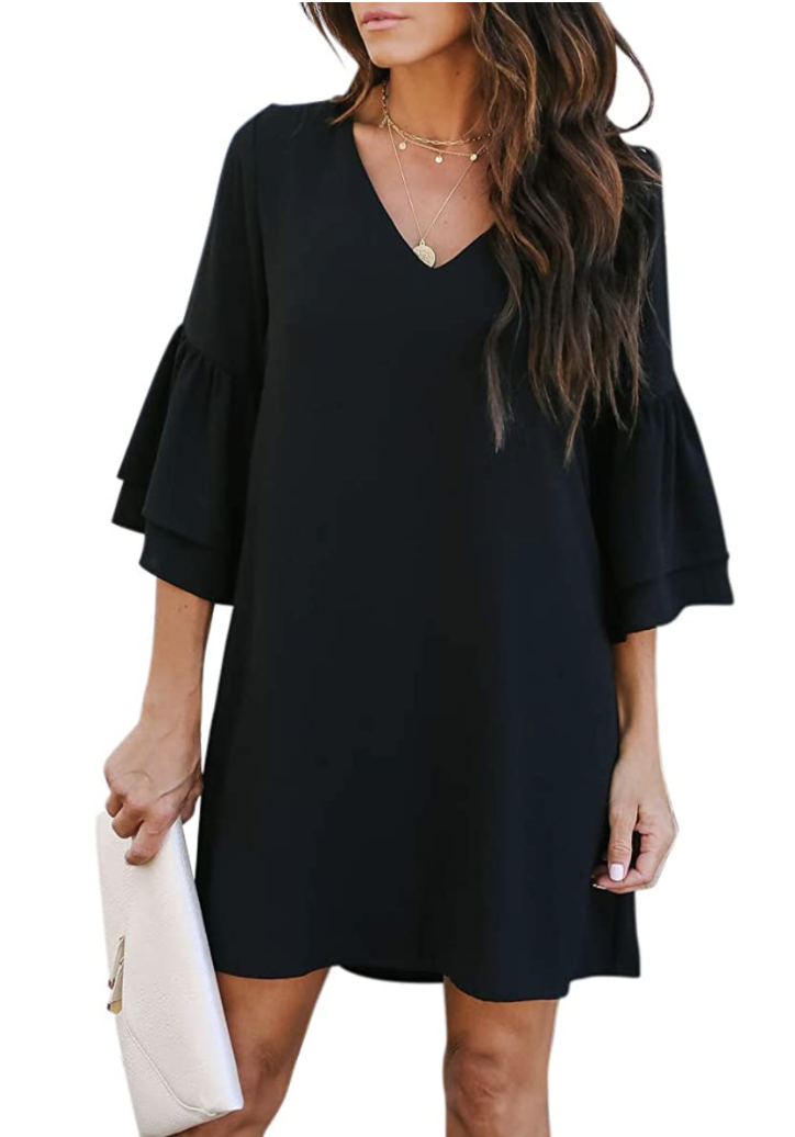 amazon belongsci long sleeve shift dress black