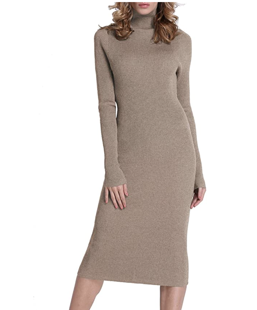 amazon cozy rocorose turtleneck dress long