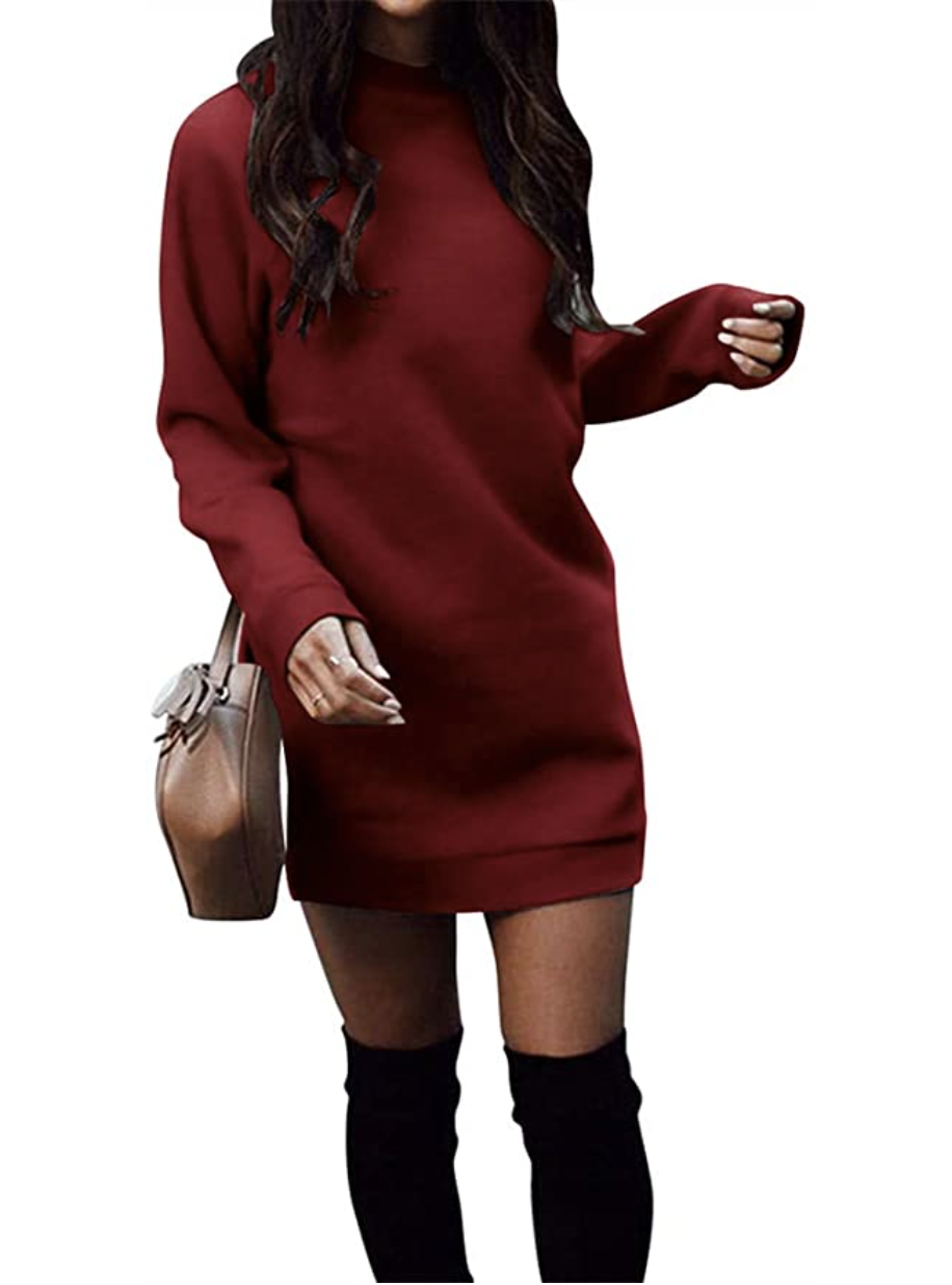 amazon cozy sweatshirt dress maroon