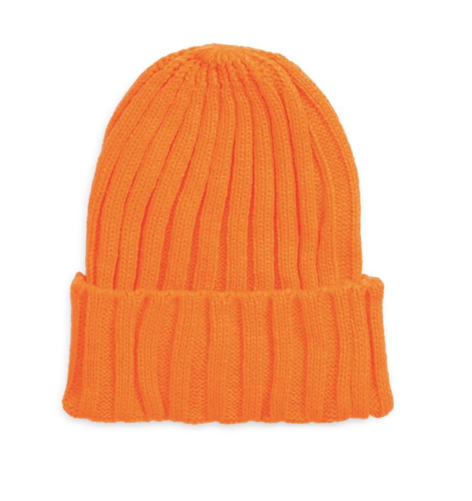 neon orange winter hat