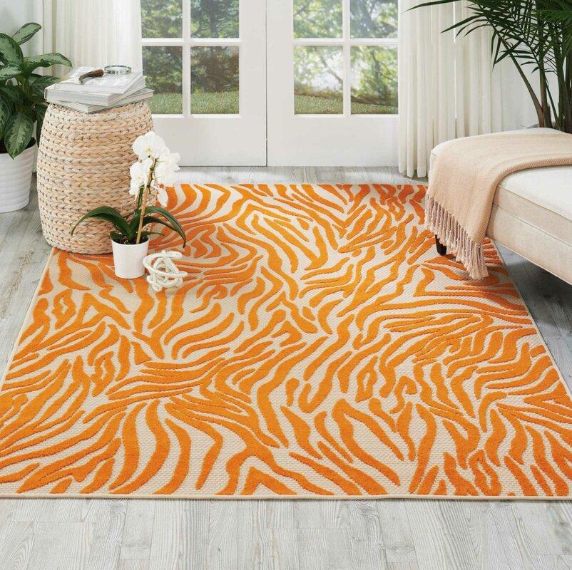 wayfair orange zebra rug