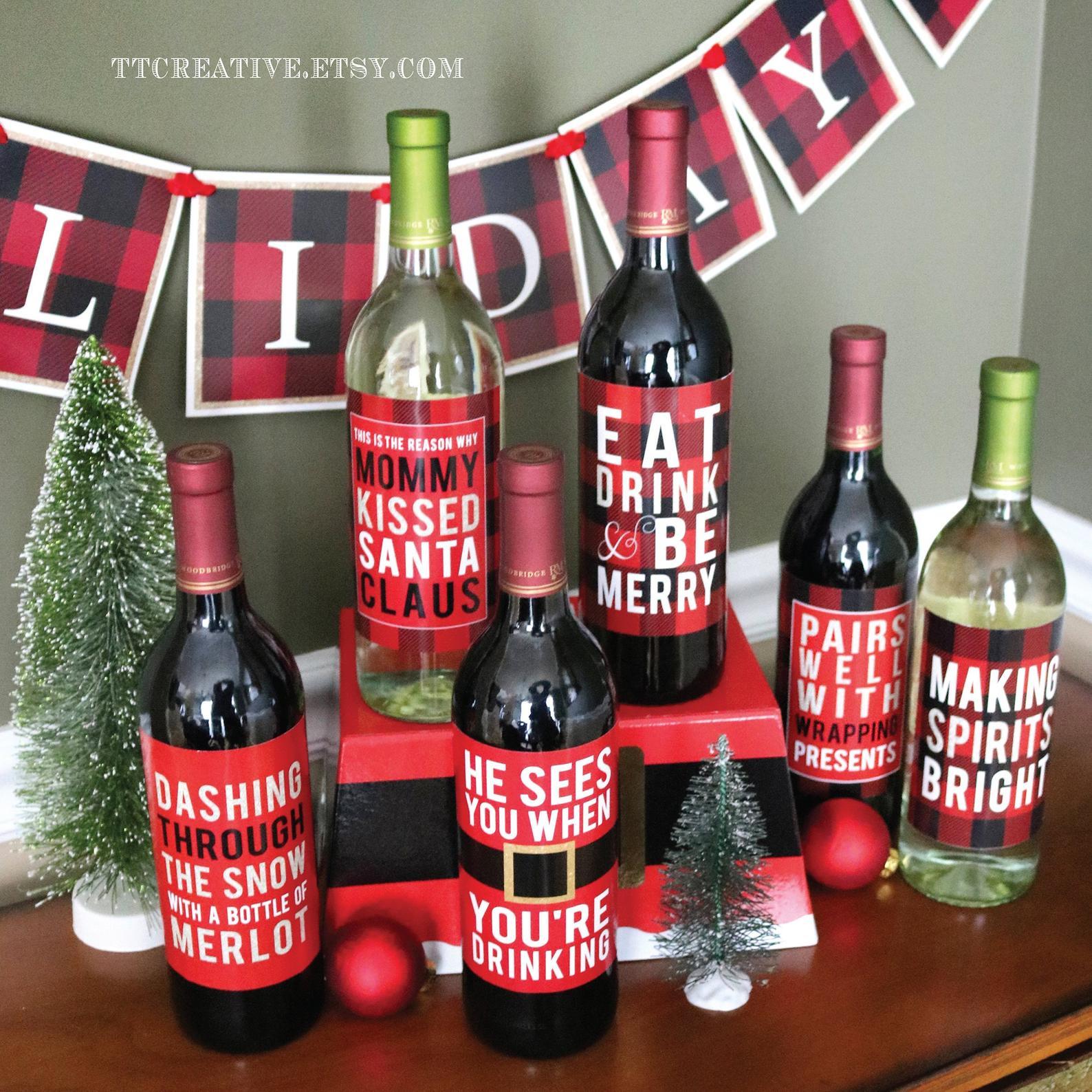 holiday wine labels white elephant gift ideas