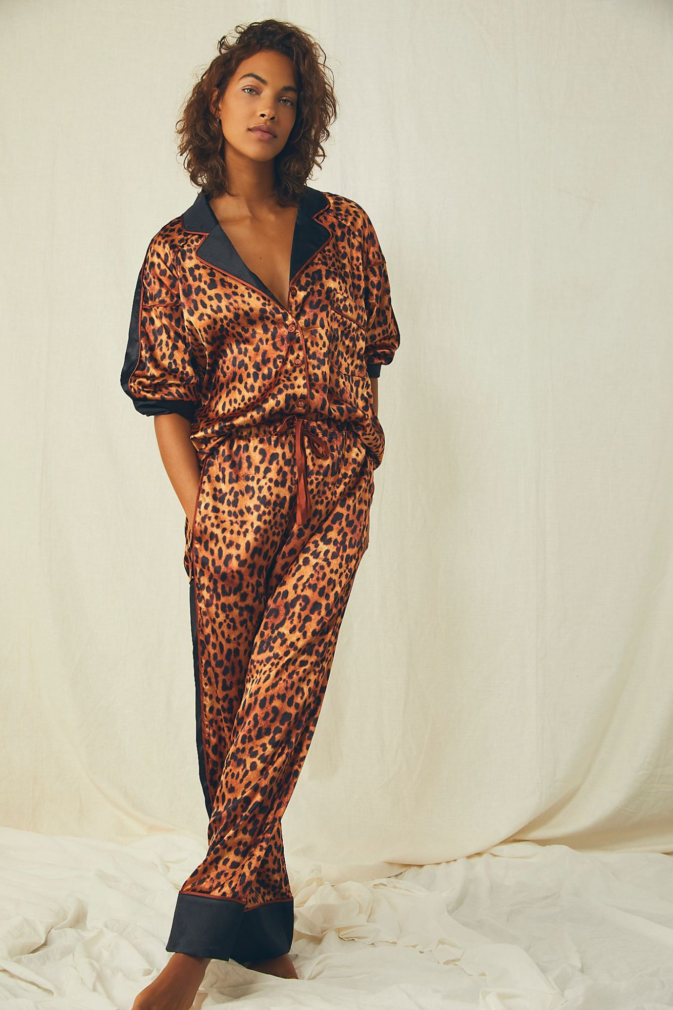 Anthropologie silk pajamas New Year's Eve outfit