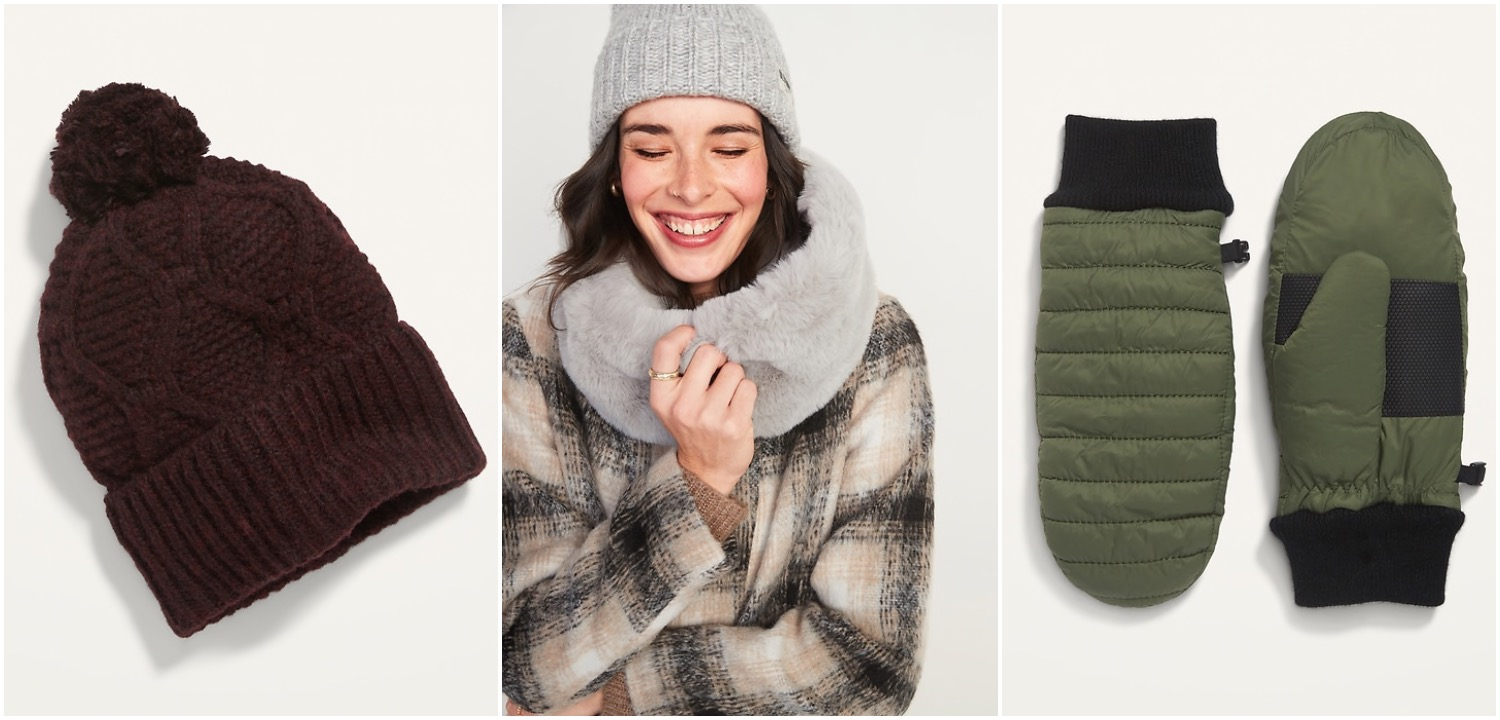 Old Navy hats and scarves