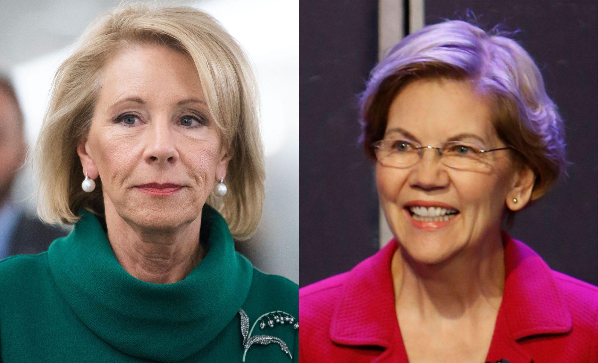 Betsy DeVos and Elizabeth Warren