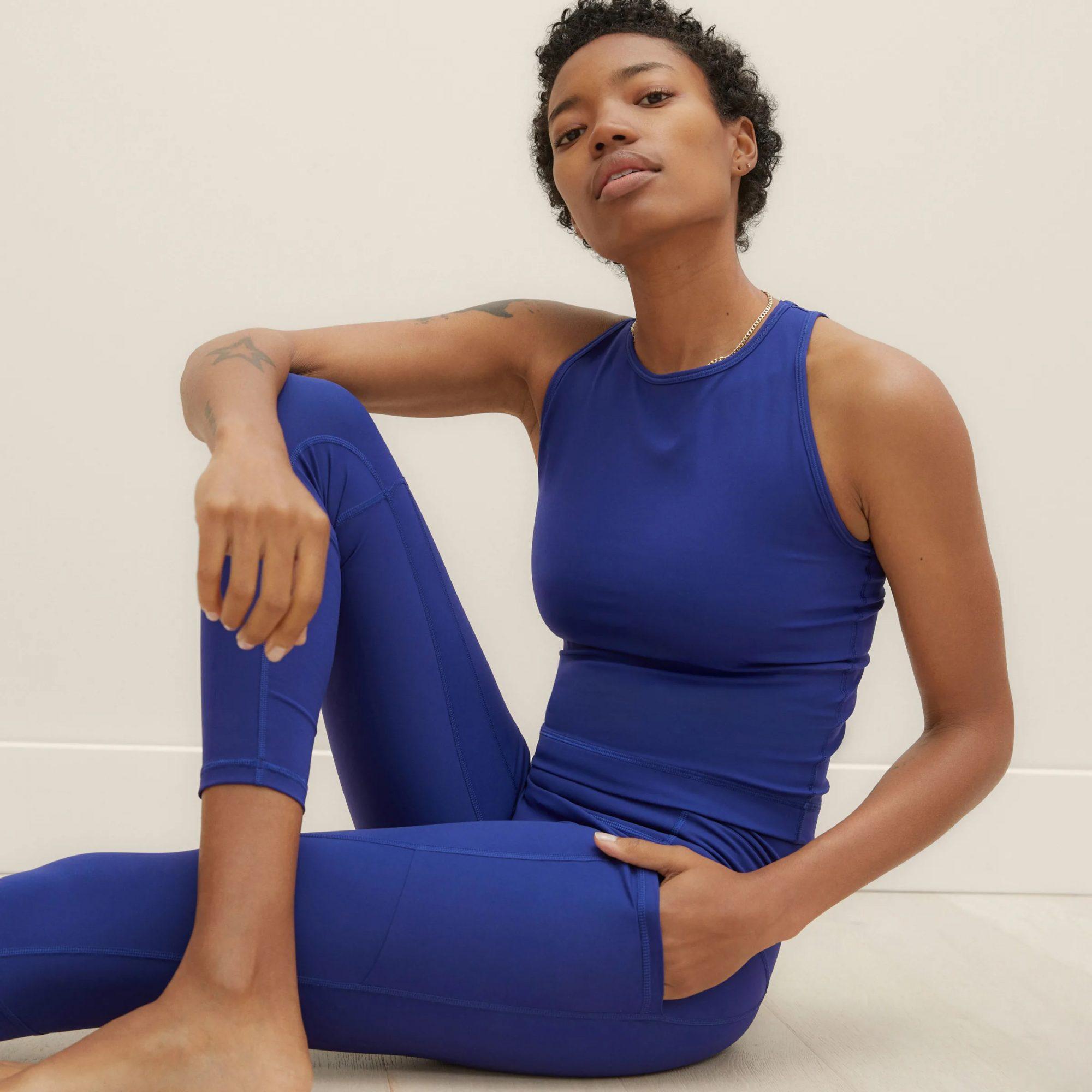 blue everlane leggings