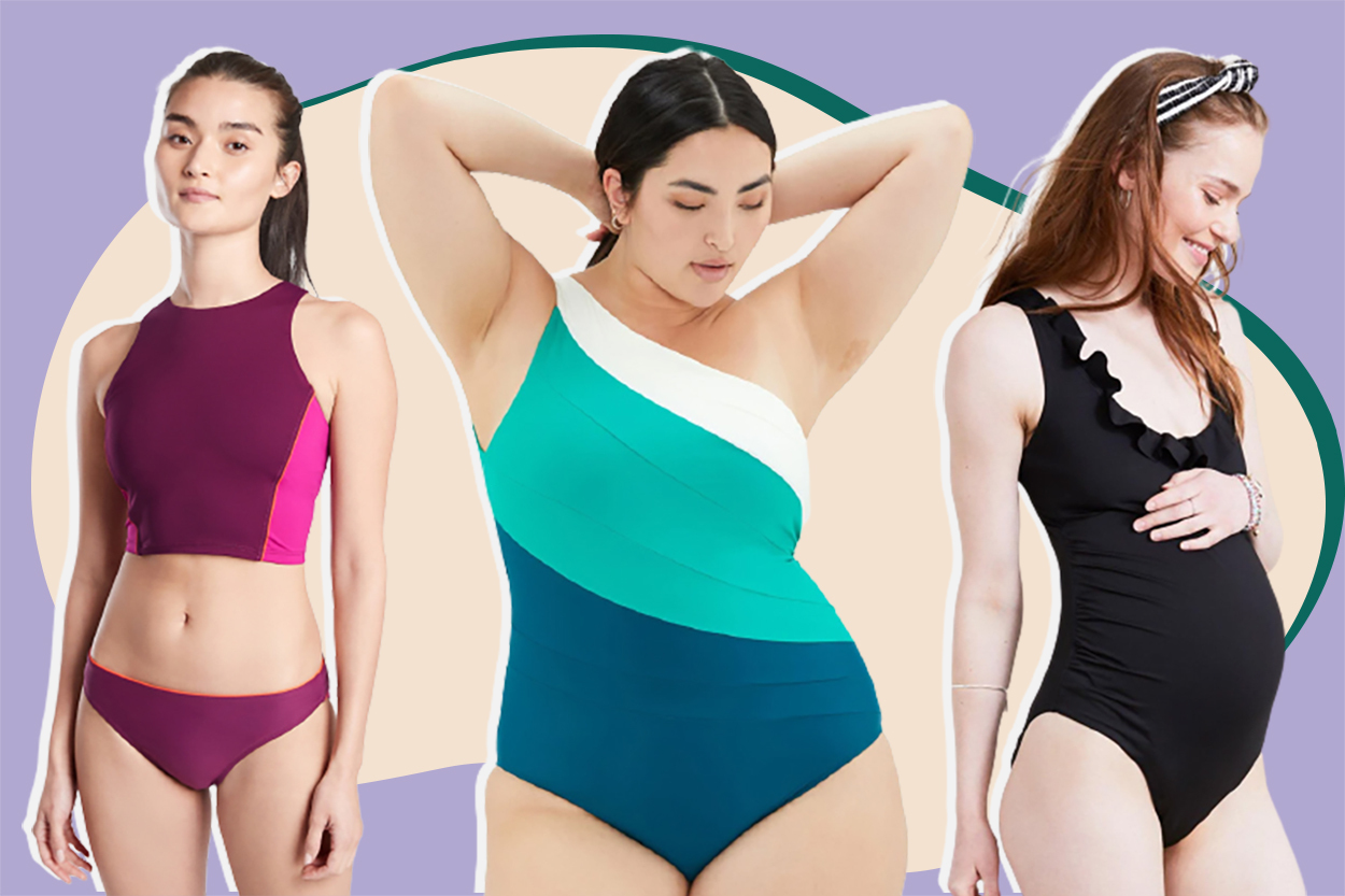 women in swimsuits one piece, one shoulder, two piece