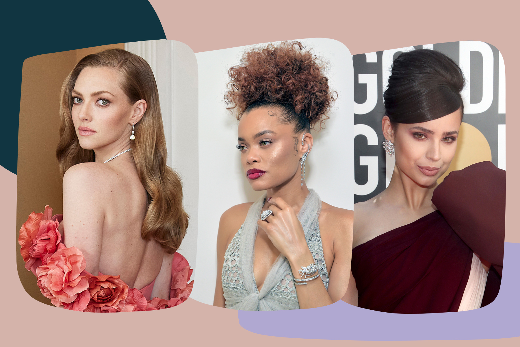 golden globes 2021 beauty best amanda seyfried sofia carson andra day