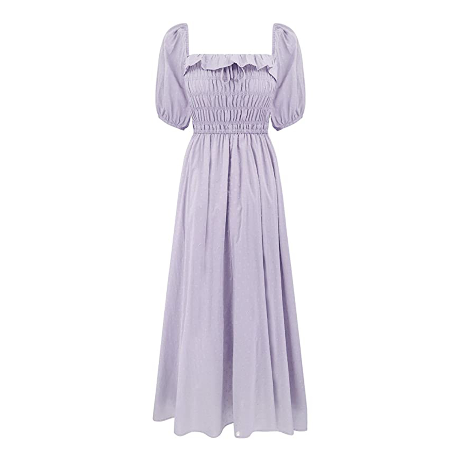 long purple puff sleeve dress