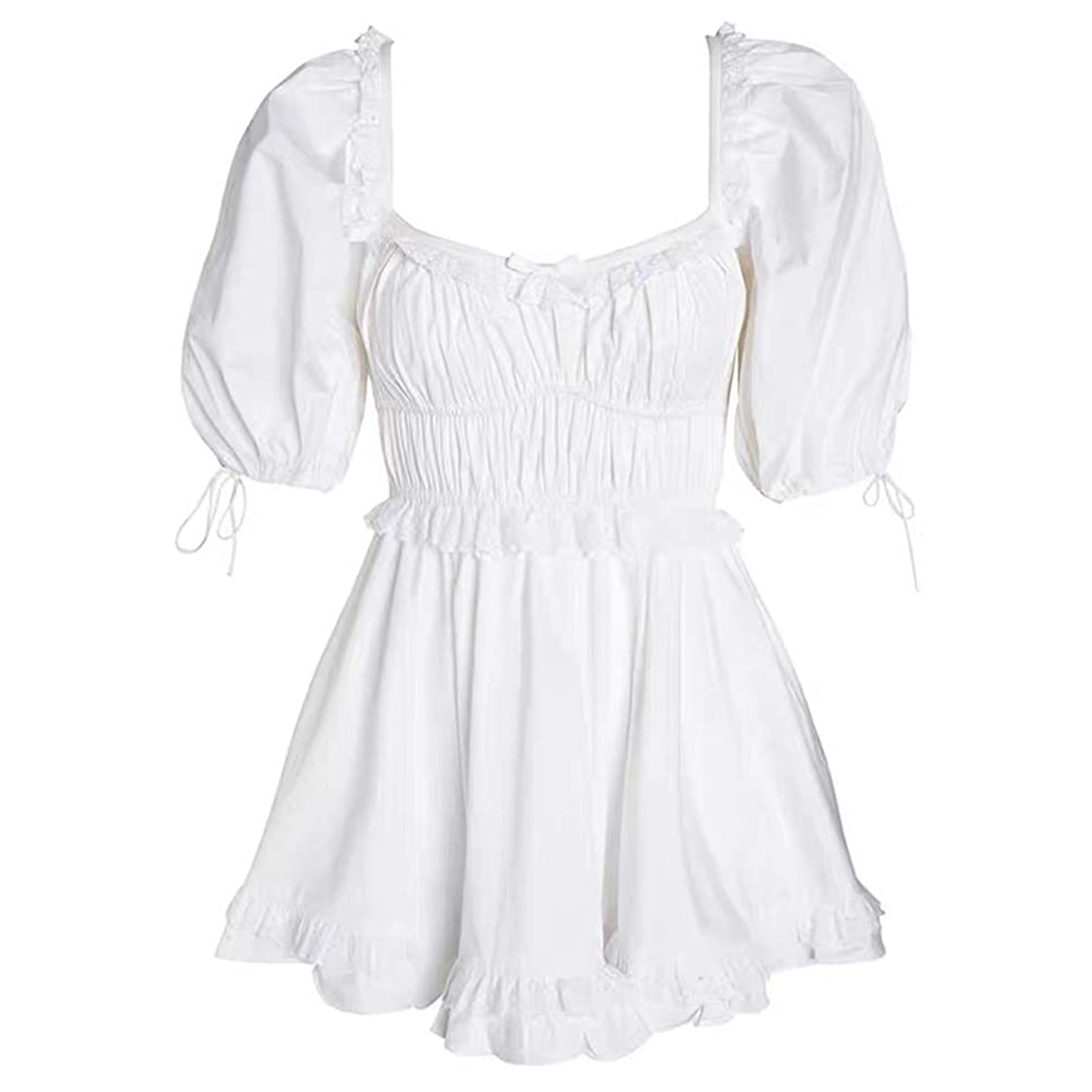 white short puff sleeve dress
