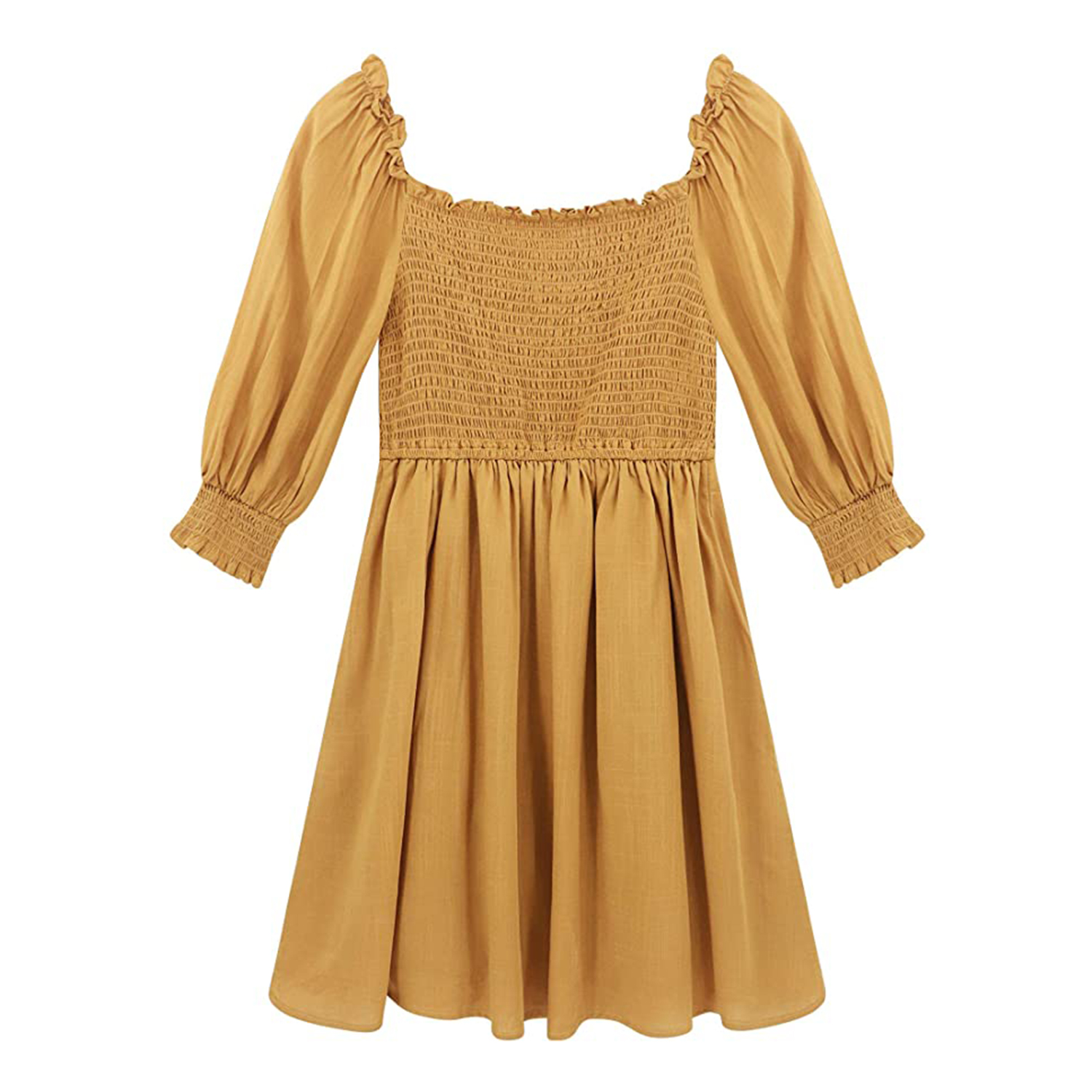 yellow puff sleeve dress