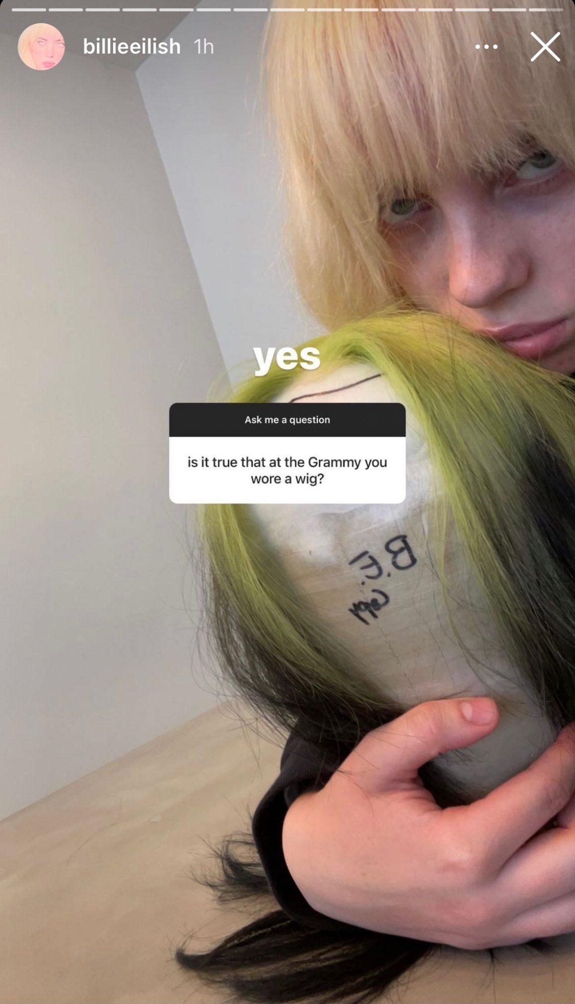 Billie Eilish Grammys wig