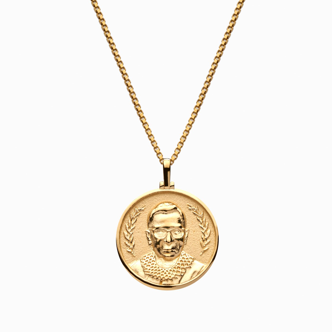 gold coin pendant necklace; RBG necklace