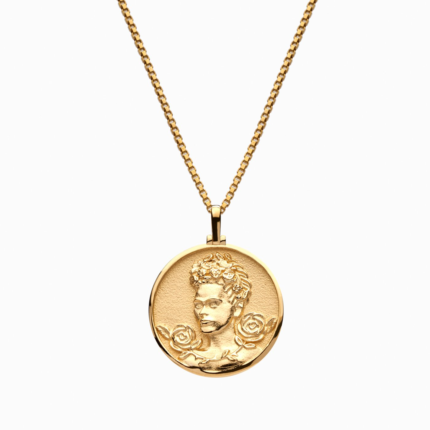 gold coin pendant necklace; frida kahlo necklace