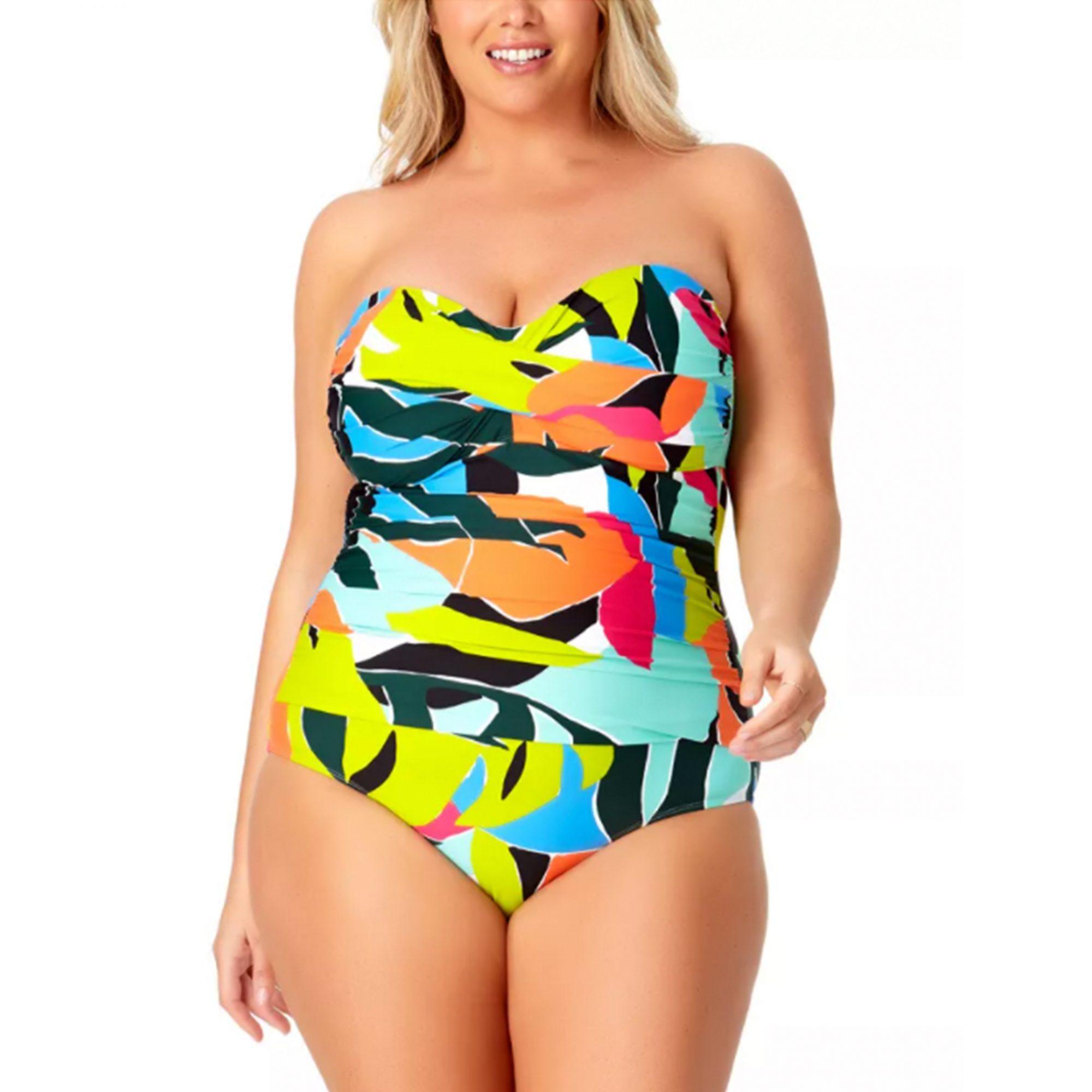plus-size-swimsuit, strapless-plus-size-swimsuit