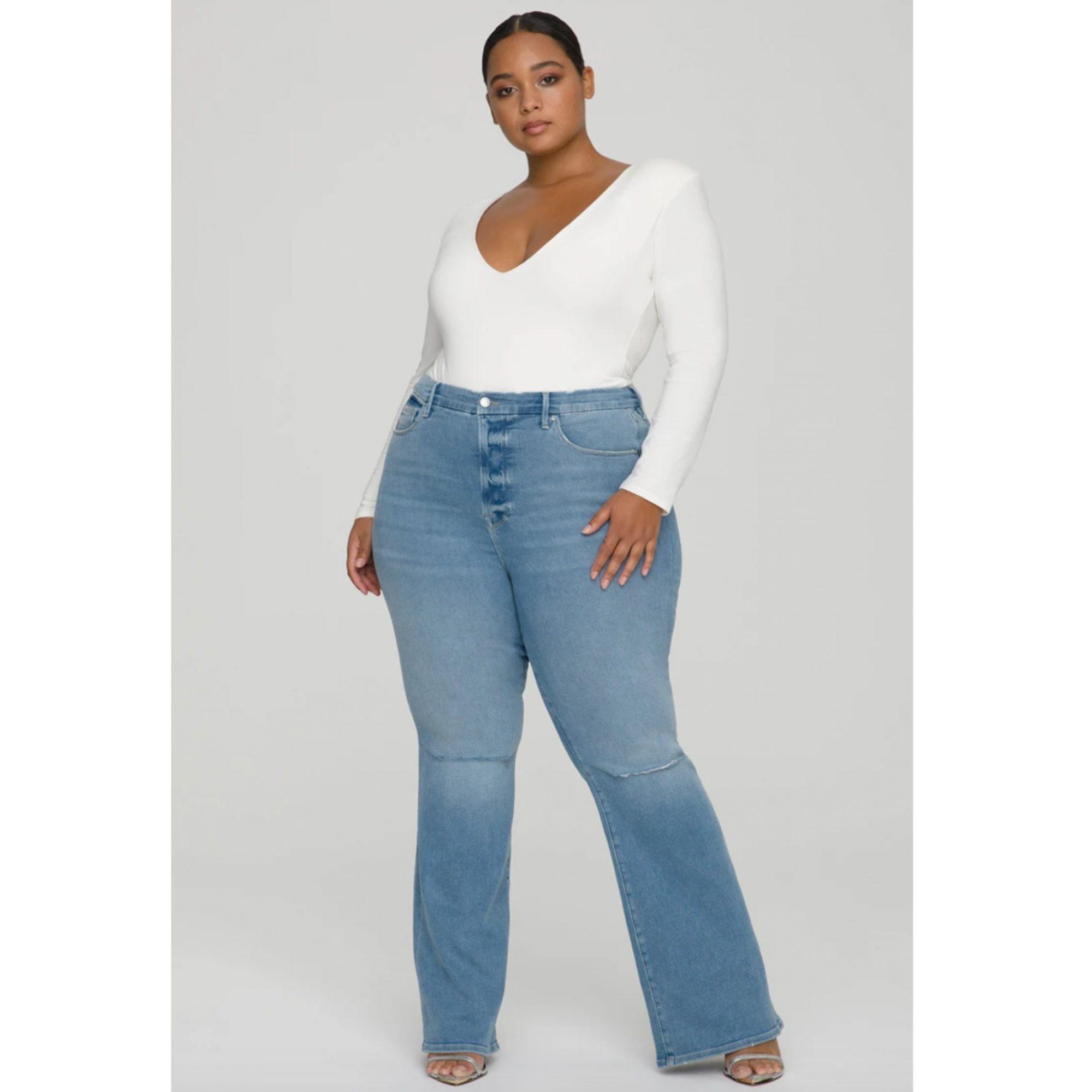 good-american-good-flare-deep-v-jeans, best-jeans-for-women